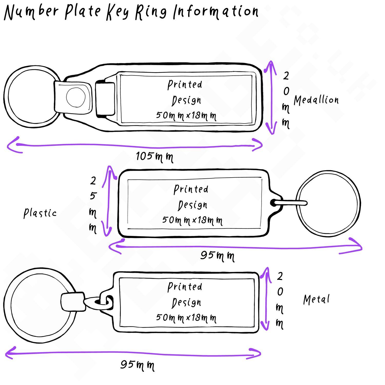 Metal Plastic UK Number Plate Key RingChoose Medallion DADS TAXI