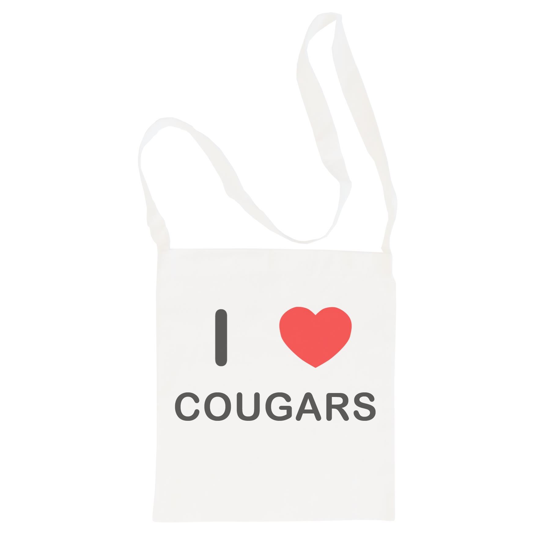 I Love Cougars - Cotton Bag | Size choice Tote, Shopper or Sling