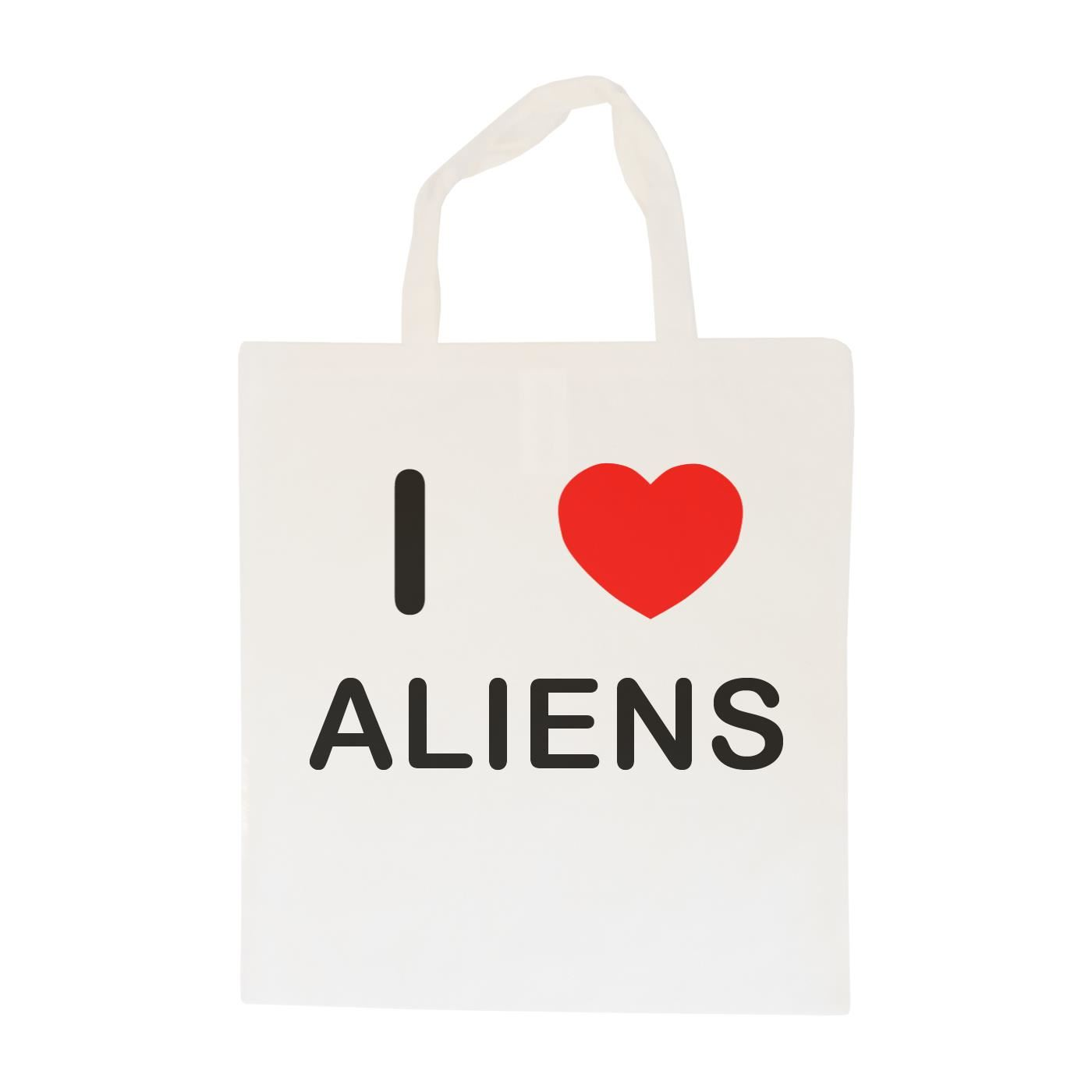 I Love Aliens - Cotton Bag | Size choice Tote, Shopper or Sling