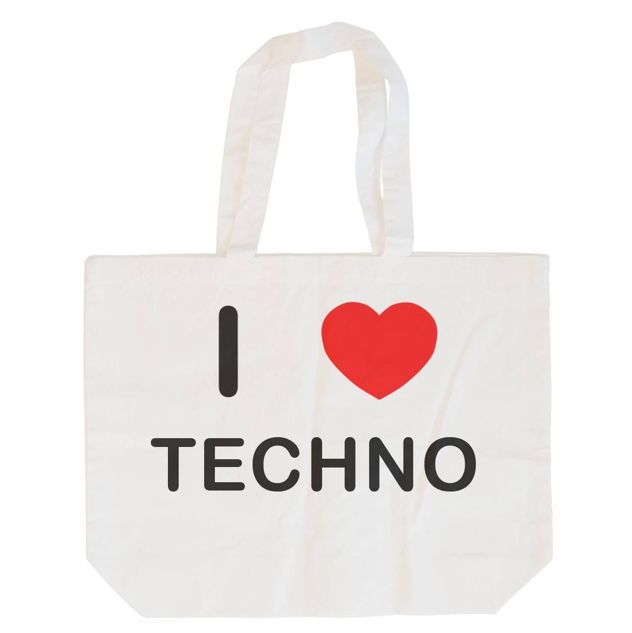 I Love Techno - Cotton Bag | Size choice Tote, Shopper or Sling