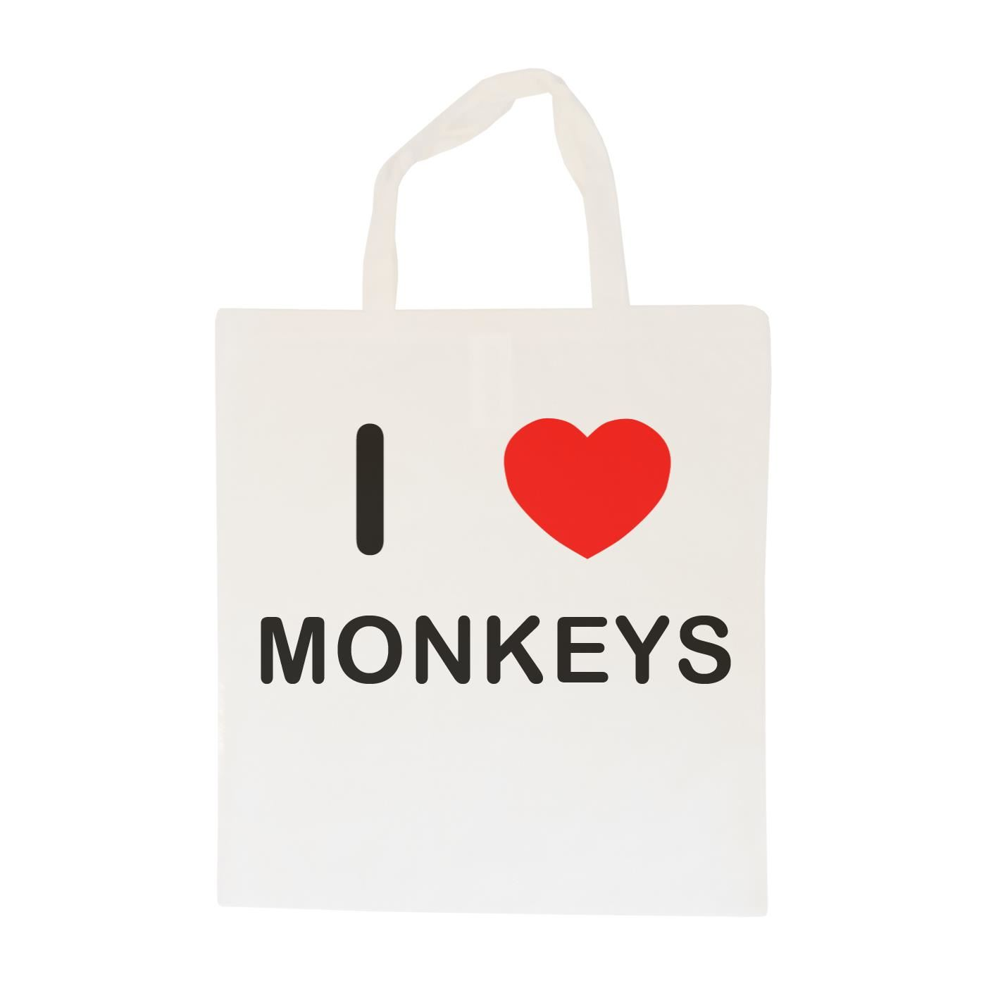 I Love Monkeys - Cotton Bag | Size choice Tote, Shopper or Sling