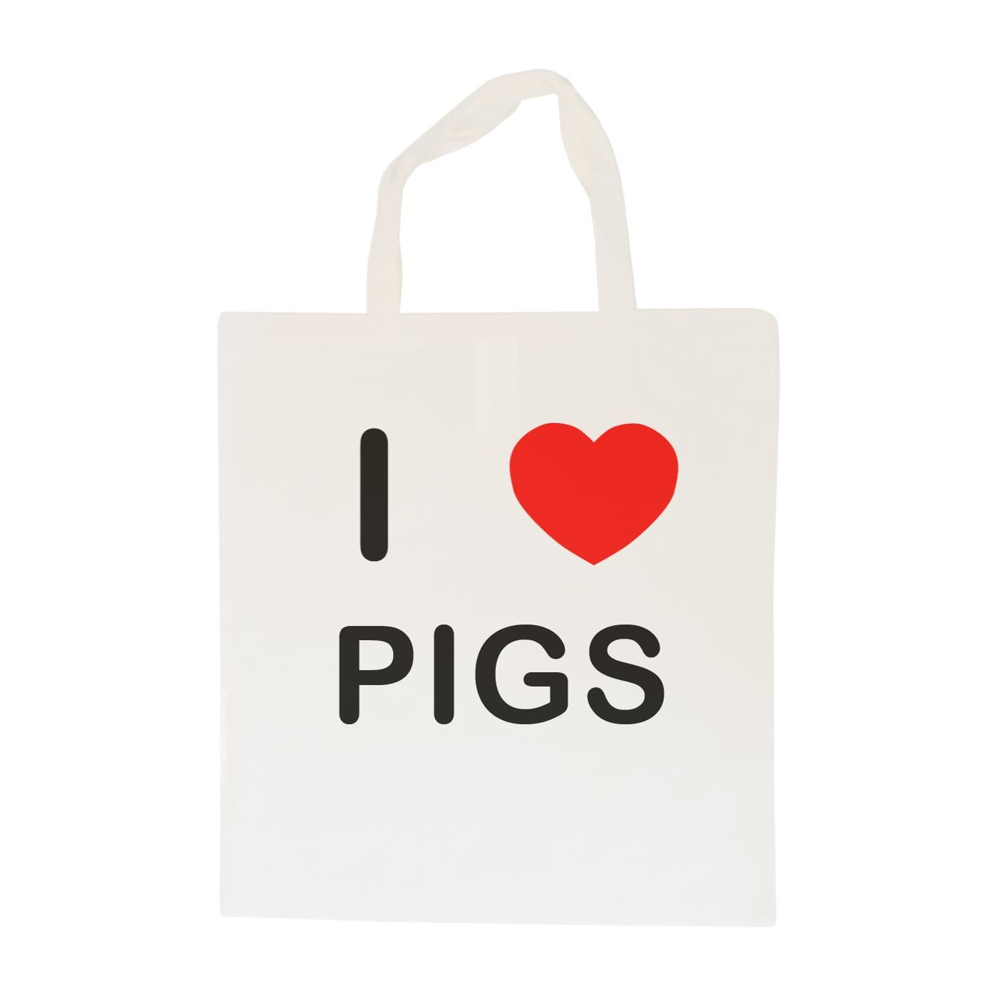 I Love Pigs - Cotton Bag | Size choice Tote, Shopper or Sling