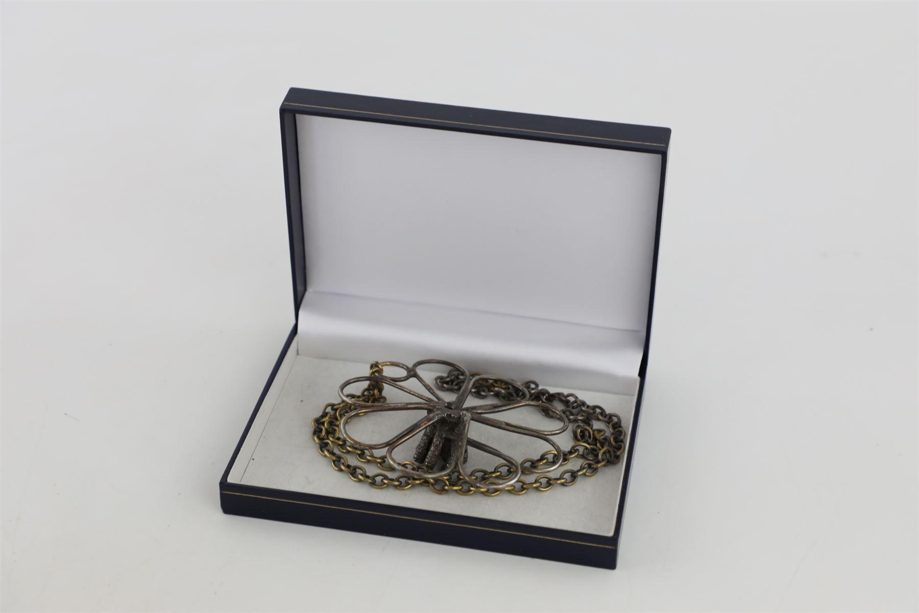 Large Silver & Brass Heavy Studio Necklace Set W Amethyst