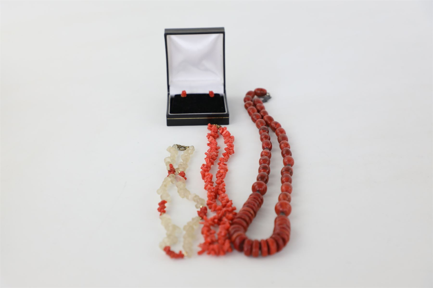 3X Vintage Genuine Coral Necklaces & Earrings In Box, Various