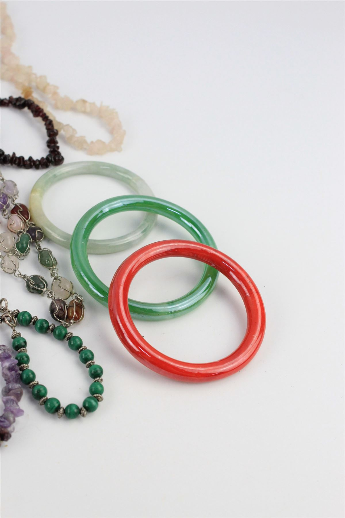 COLLECTION OF SEMI-PRECIOUS Gemstone Mixed Bead Necklaces ...