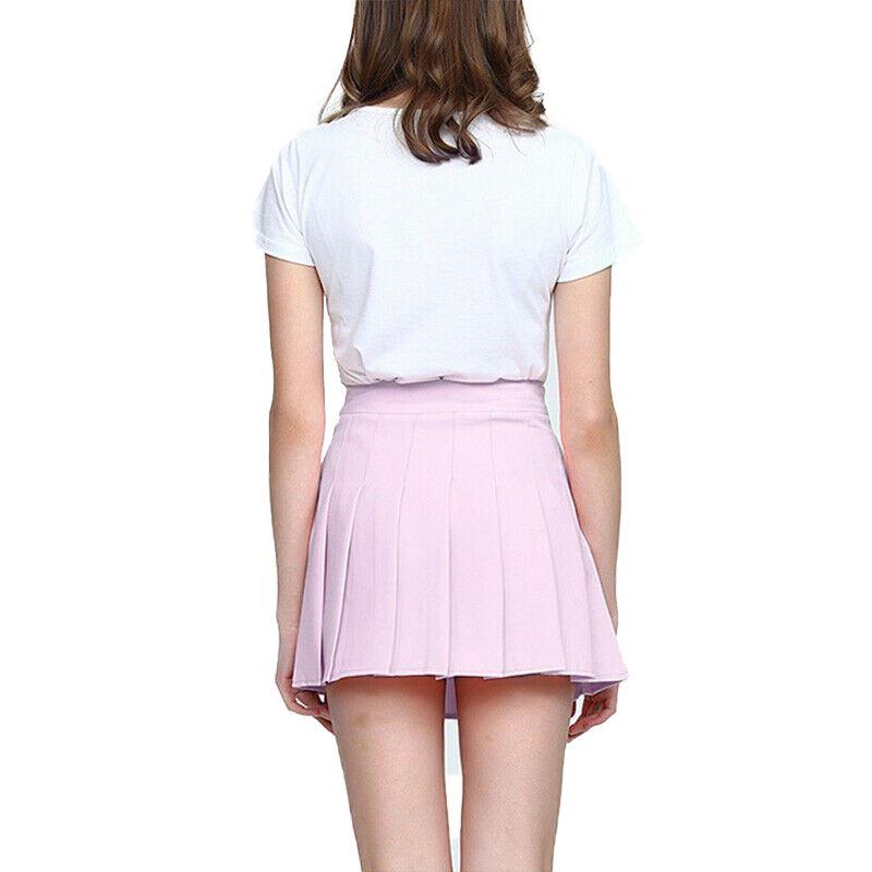 Women/'s Pleated High Waist Casual Tennis Style Skater Lovely Sports Mini Skirt
