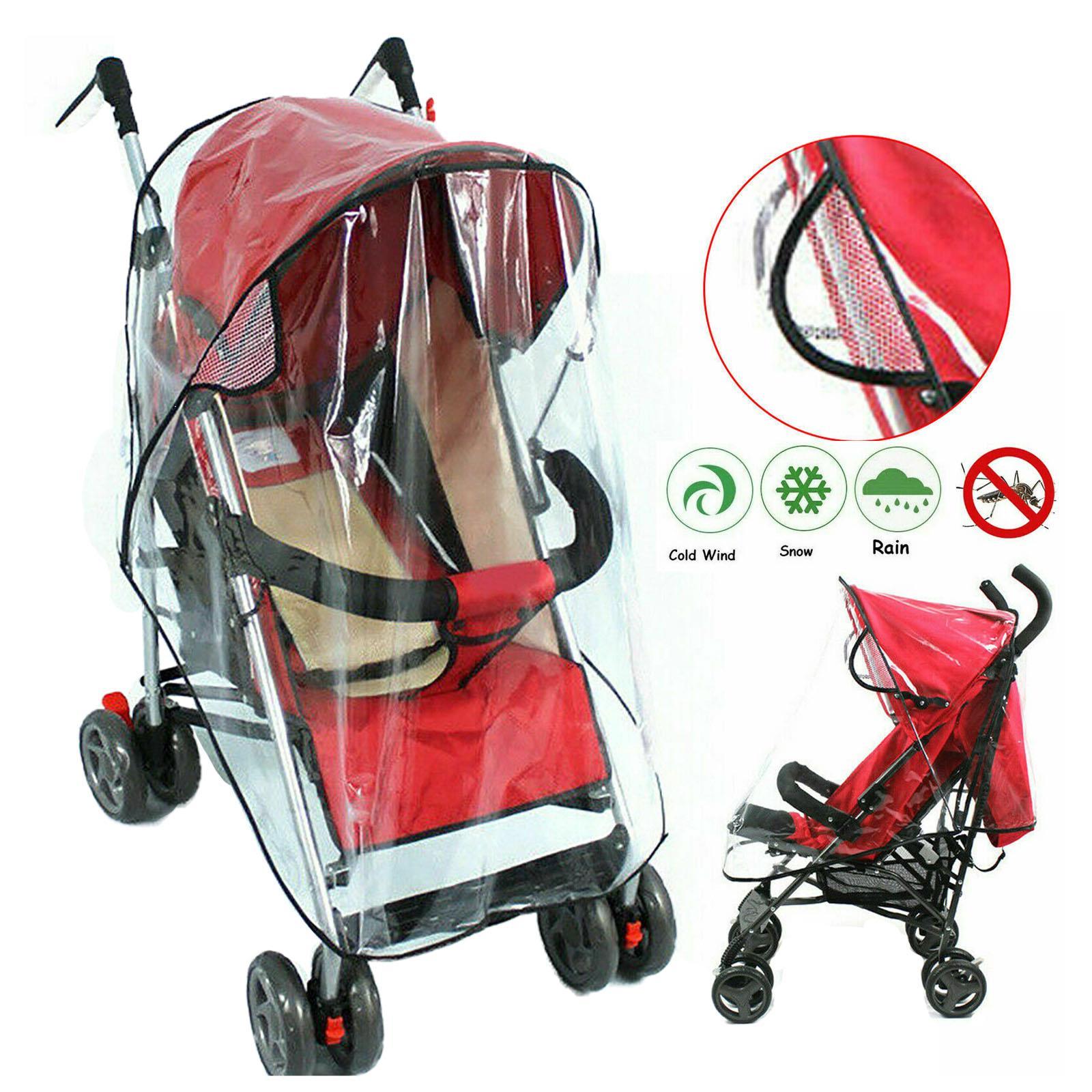 Universal Transparent Pushchair Stroller Rain Cover with Black Trim New