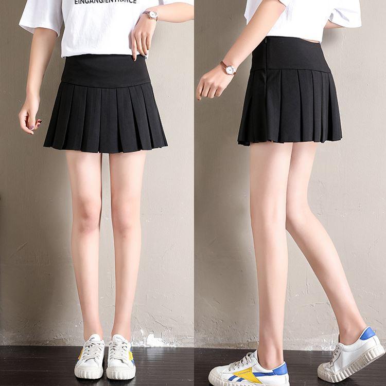 Femmes taille haute plissée Casual Tennis Style Patineuse Mini Jupe