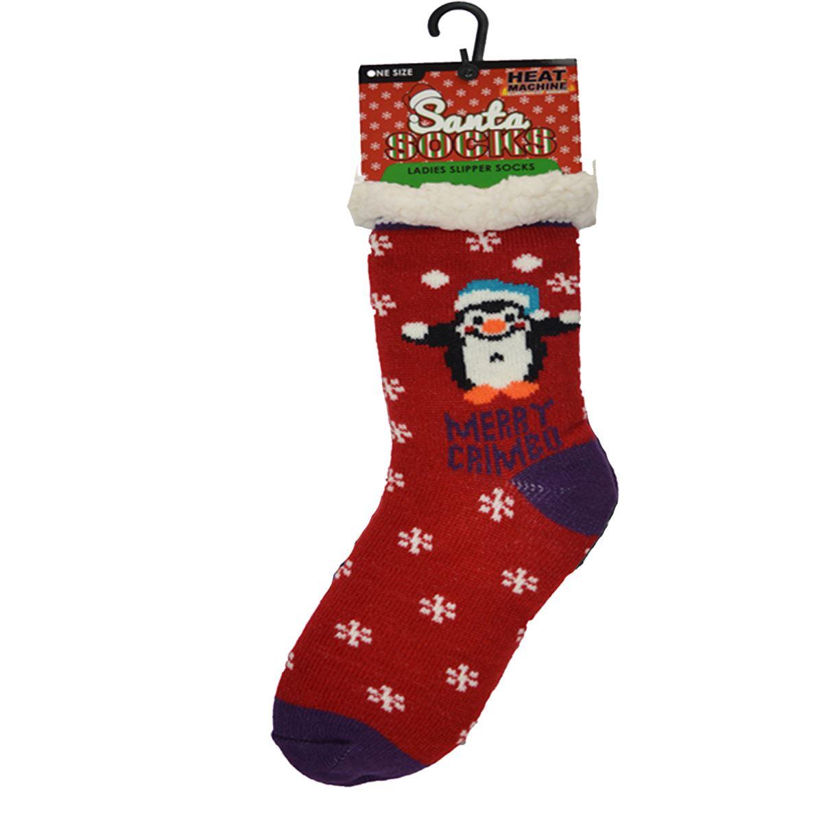 Calcetines-para-mujer-Cama-Suave-Lana-Forrada-Agarre-Antideslizante-Calcetines-Zapatilla-De-Navidad