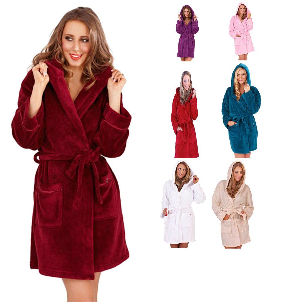 New Womens Soft Hooded Short Bath Robe Dressing Gown Housecoat ...
