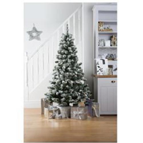 newest cfb37 ee18c Details about Tesco 6feet 180cm Fibre Optic White Alaskan Flocked Christmas  Tree With Base