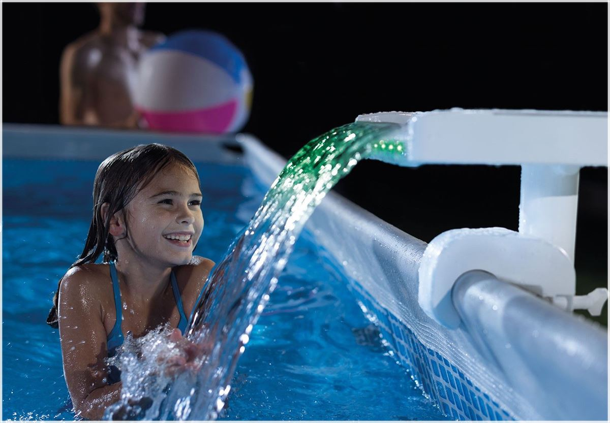 Intex Multi Color Led Waterfall Cascade Pool Set Prism