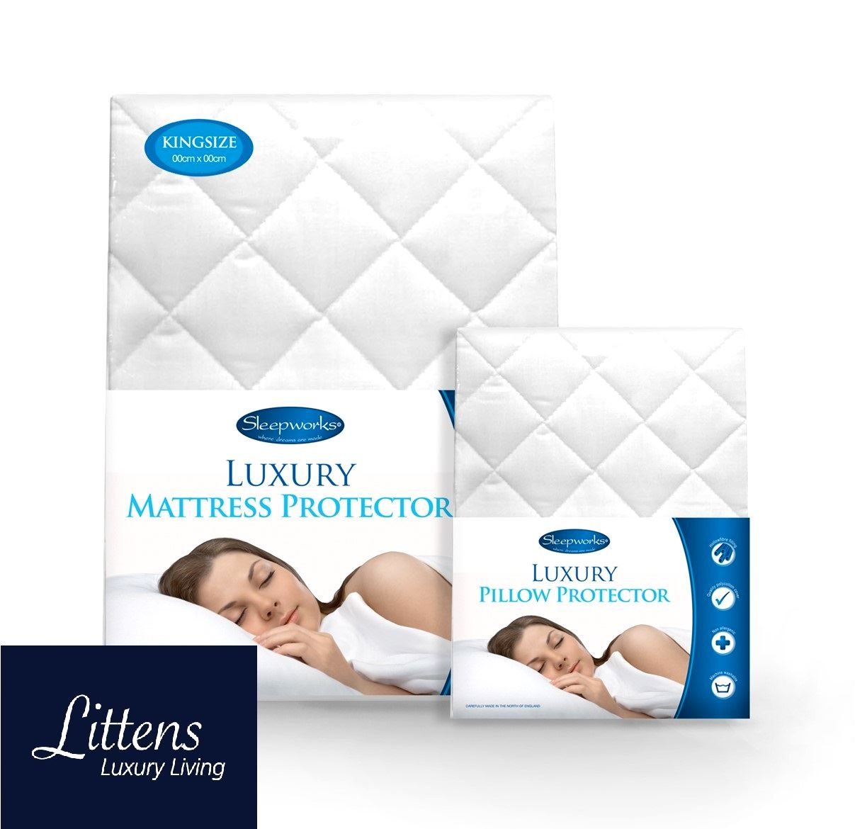 """Deep 12/"""" In 6 Sizes Made In UK Quilted Mattress Protector Poly Cotton"""