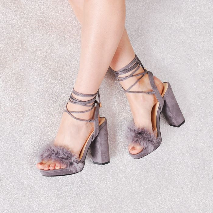 53ce2101aaf Womens Block Heel Lace Up Tie Fluffy Feather Heeled Sandals Suede ...