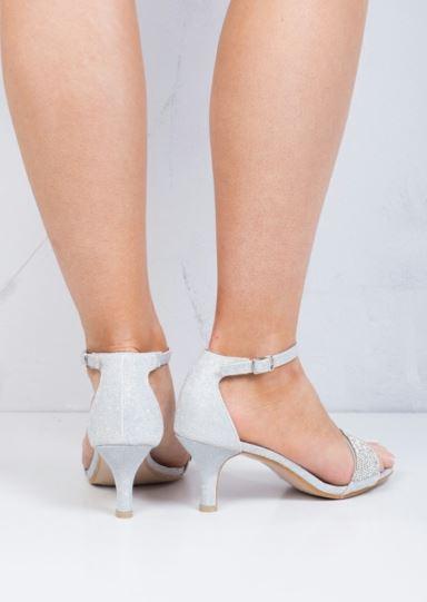 Embellecido Diamante Mujer Oro Sandalias Zapatos Tacón Bajo Fiesta Cristal