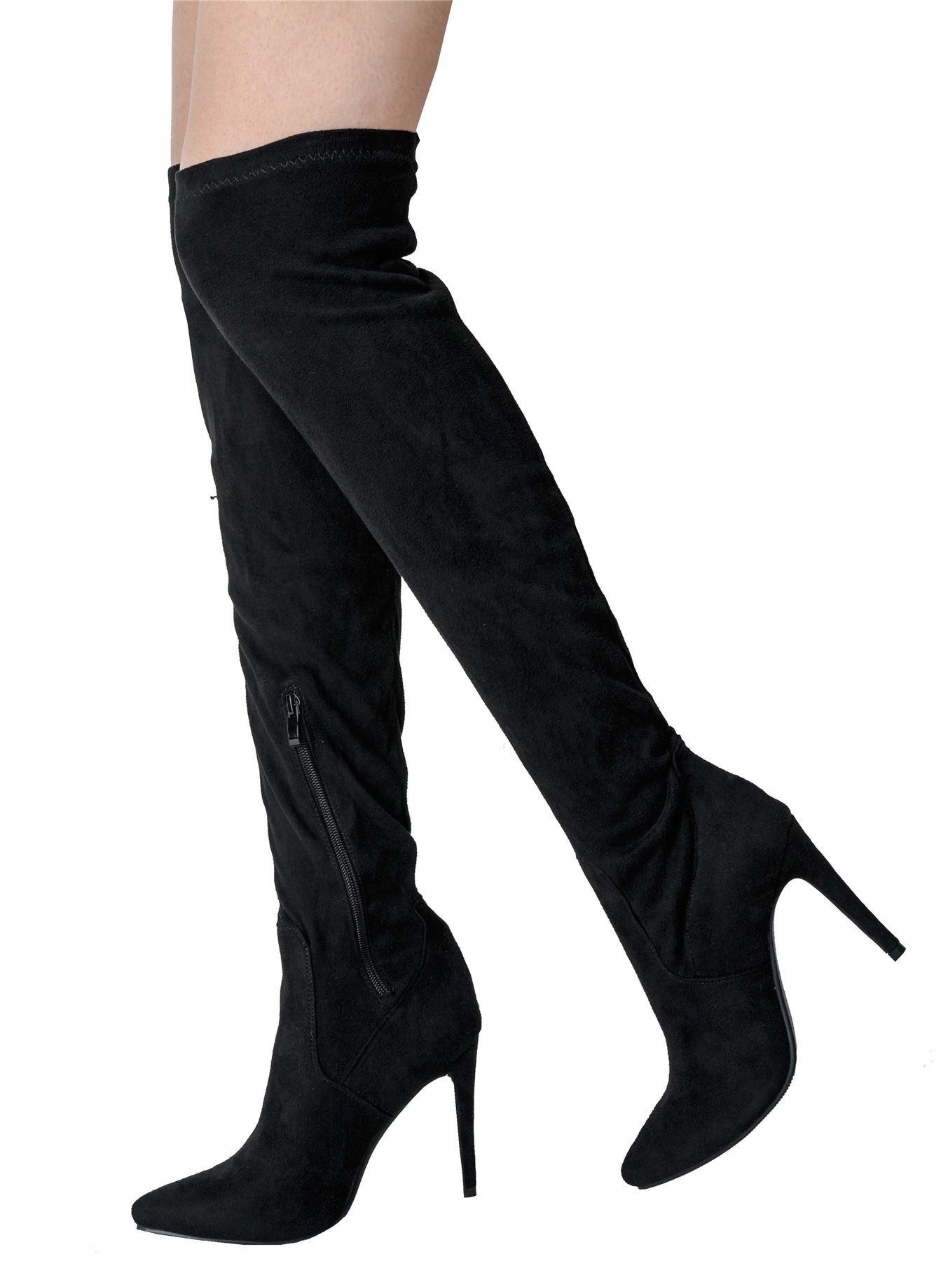 Womens Crushed Velvet Over The Knee High Long Stiletto