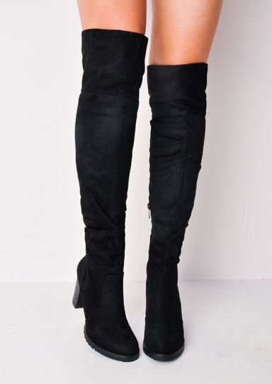 Woman/'s Shoes Cleated Long Over the Knee Block Heel Suede Boots Black