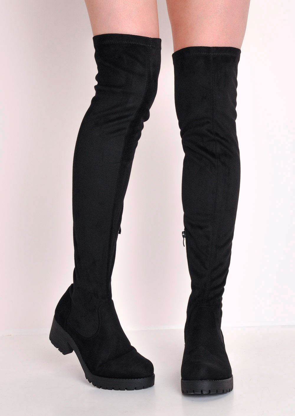 Over-The-Knee-Cleated-Sole-Faux-Suede-Platform-Boots-Black-Chunky-Heel