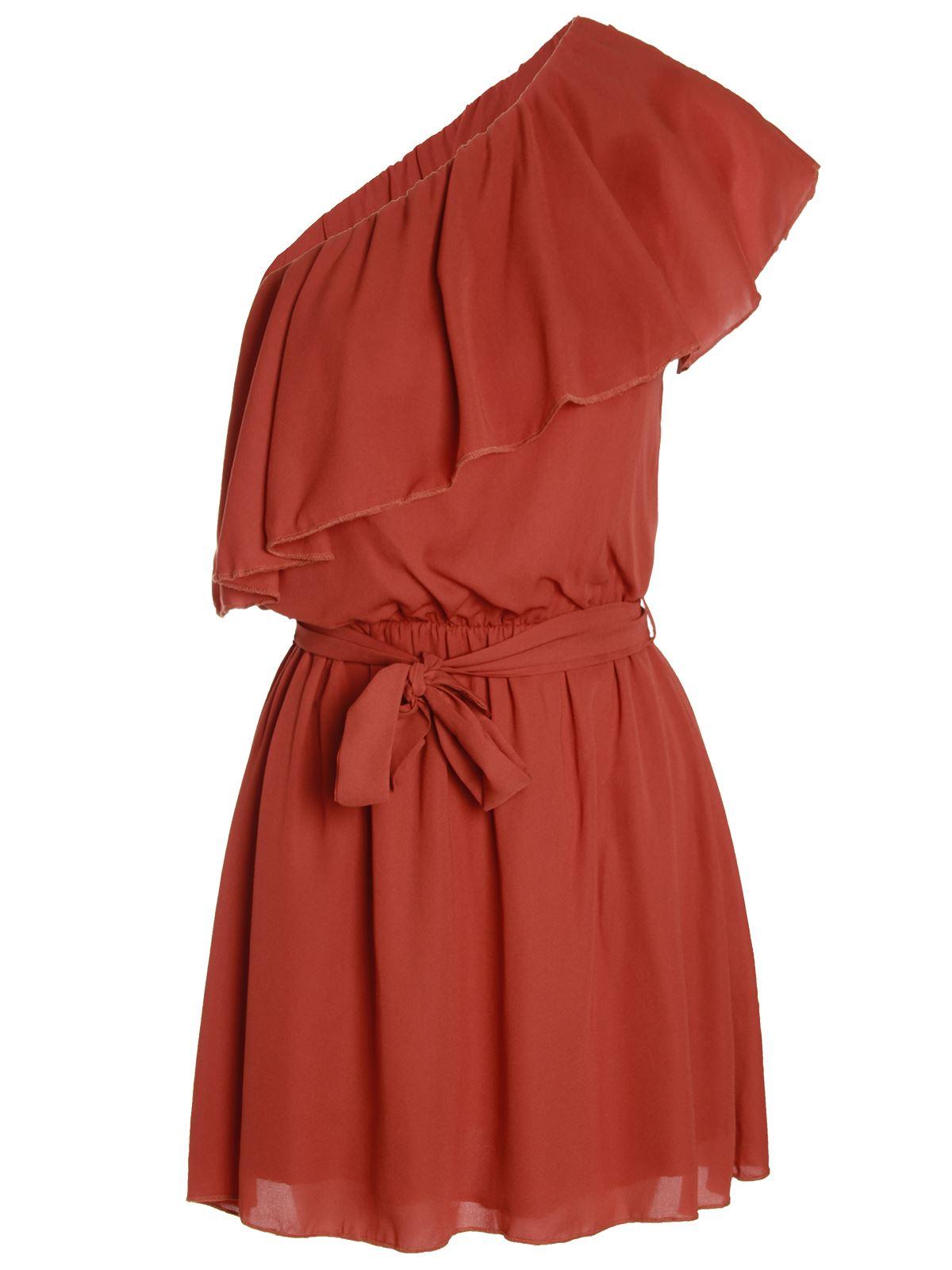 Womens-Ladies-One-Shoulder-Frill-Top-Retro-Vintage-Chiffon-Dress-Grecian-Gypsy