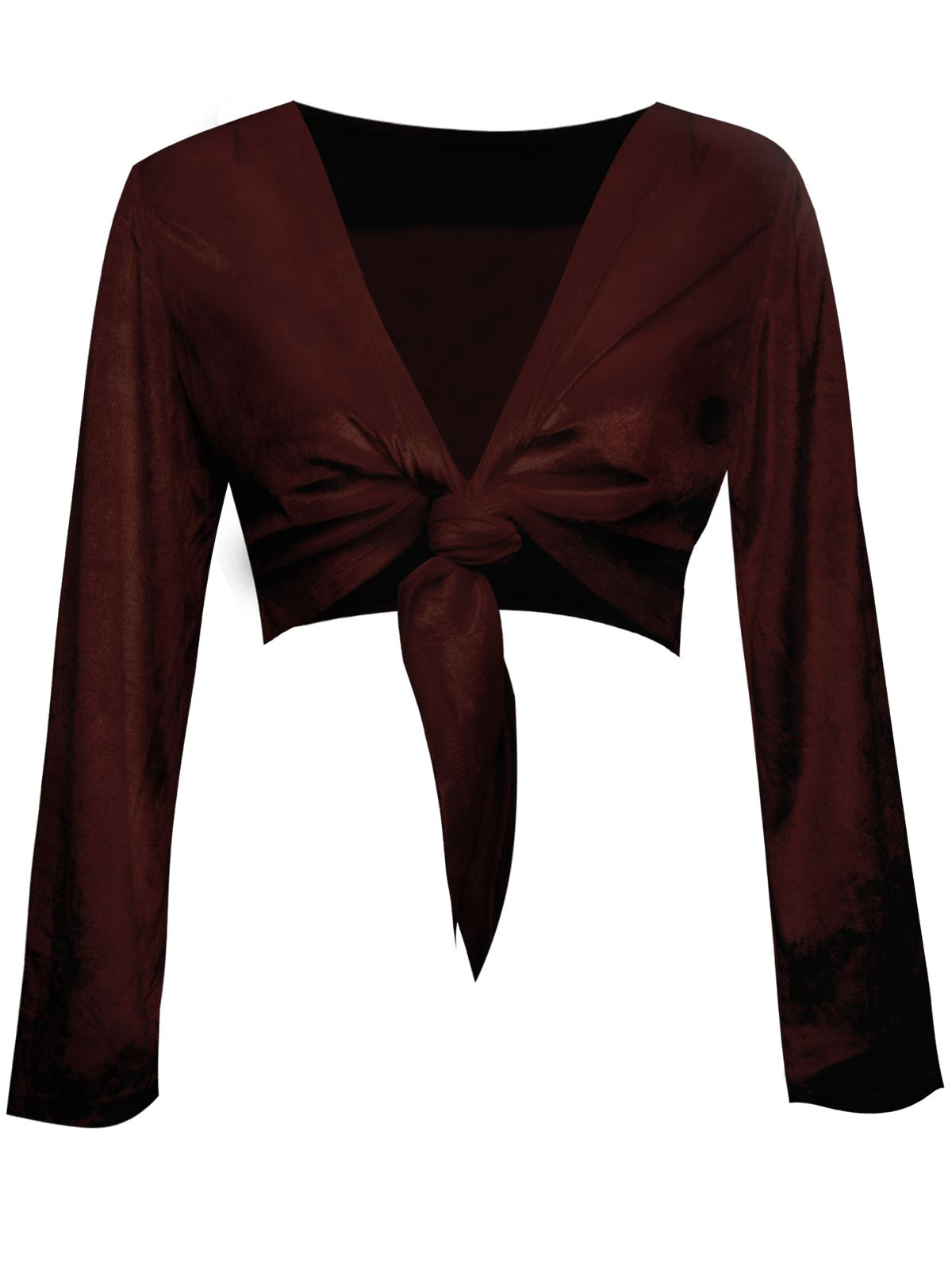 New-Womens-Ladies-Long-Sleeve-Tie-Up-Crop-Bolero-Shrug-Velour-Wrap-Cardigan-Top