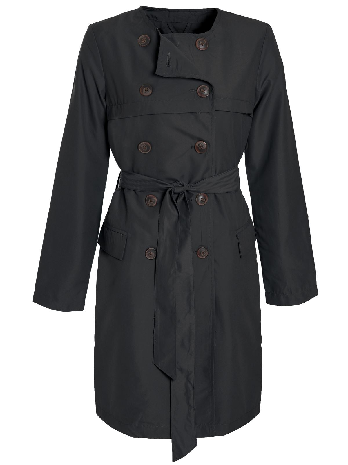 Womens-Ladies-Trench-Mac-Jacket-Microfibre-Double-Breasted-Tie-Belted-Coat