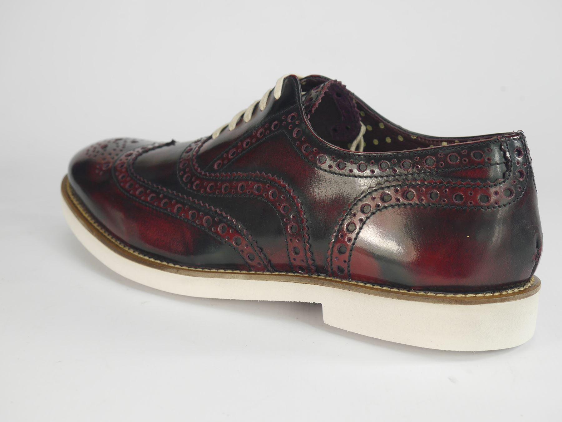 Brogues Shoes Bordo Lace London Bianco Mens Farnham d1SFdTa