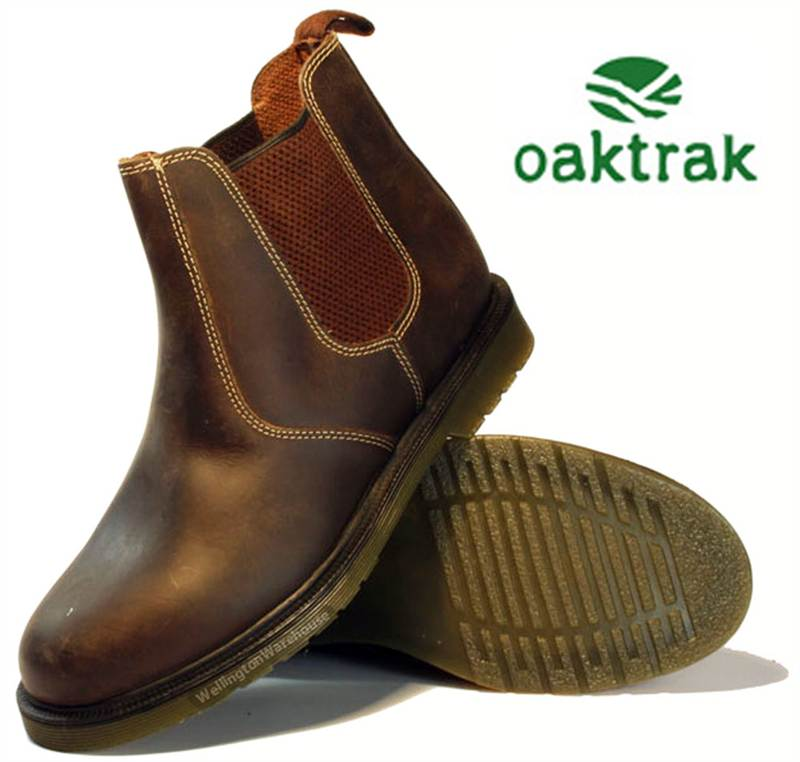 Oaktrak Mens Real Leather Brogue Chelsea Pull On Dealer Boots Sizes 7 8 9 10 11