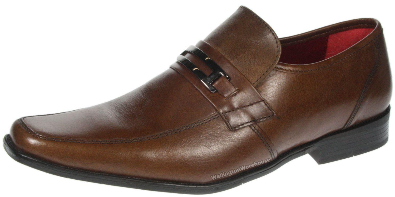 Details zu Red Tape Nevis Hellbraun Slipper Leder Herren Formell Arbeit Büro Schuhe