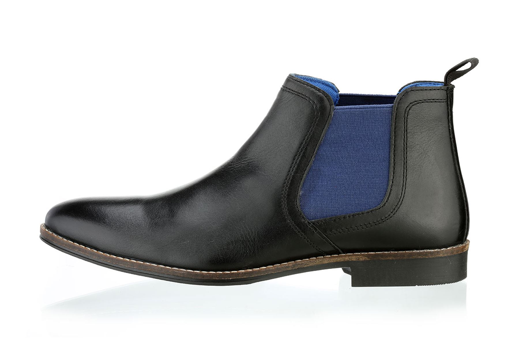 Stockwood, Botas Chelsea para Hombre, Color Negro (Black Leather/Blue), Talla 42 EU Redtape