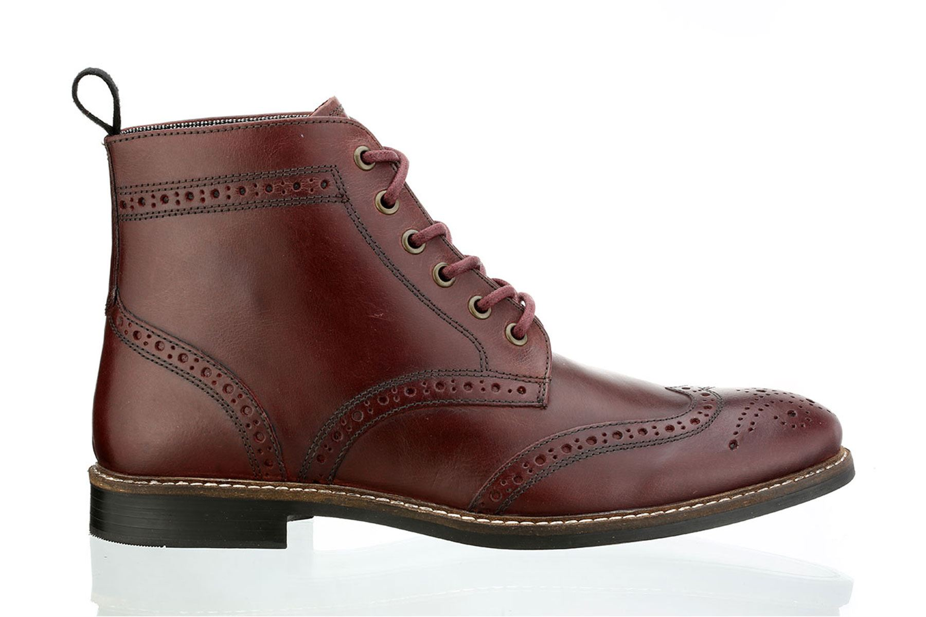 Red Tape Glaven Real Leather Upper Lace Up Brogue Mens Boots Bordo Brown  30b2680a591
