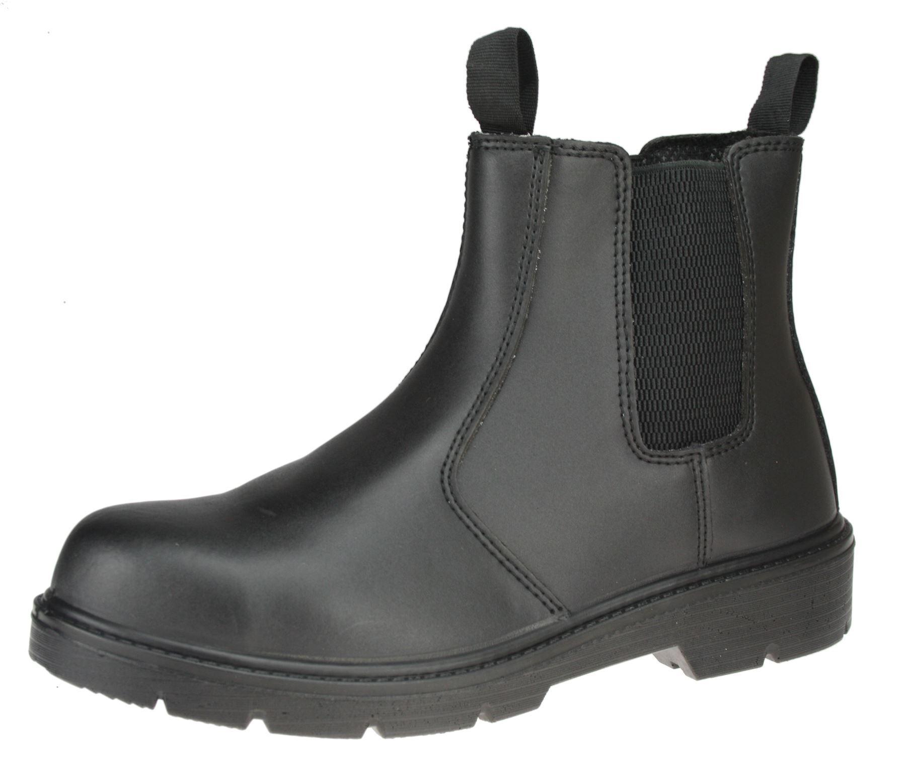 ET Safety I0020 Chelsea Nero Mocassini in Pelle Sicurezza Lavoro Caviglia Stivali