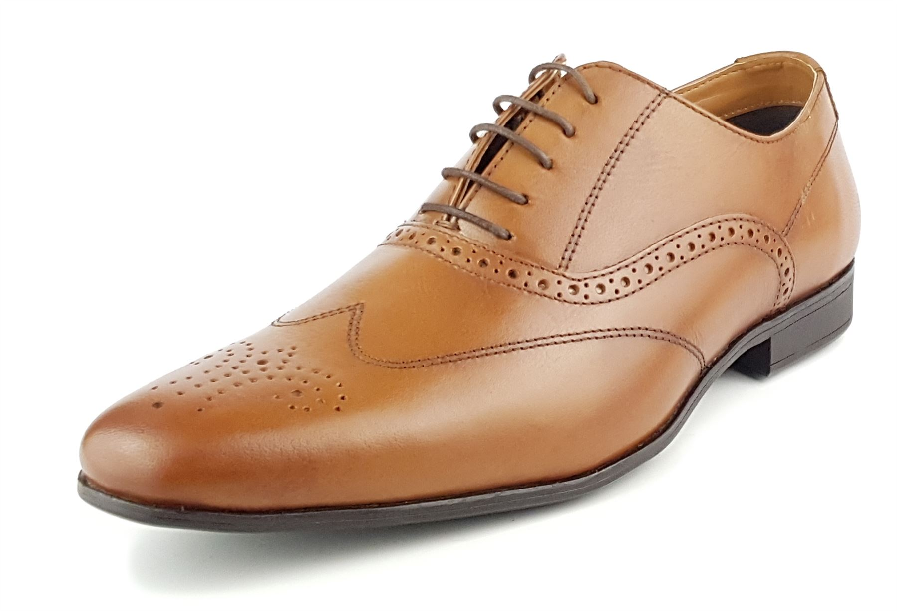 MENS RED TAPE REAL LEATHER LACE UP CASUAL FORMAL SMART WORK BROGUE SHOES SIZE