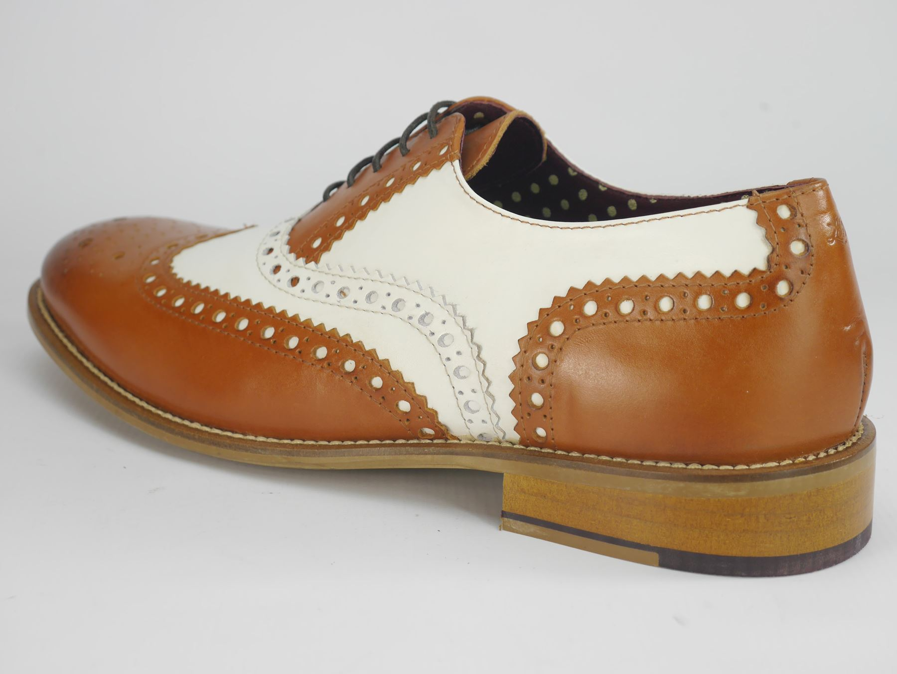 London Brogues Gatsby Tan / White Leather Lace Up Brogues Mens Leather White Round Toe Shoes 168151