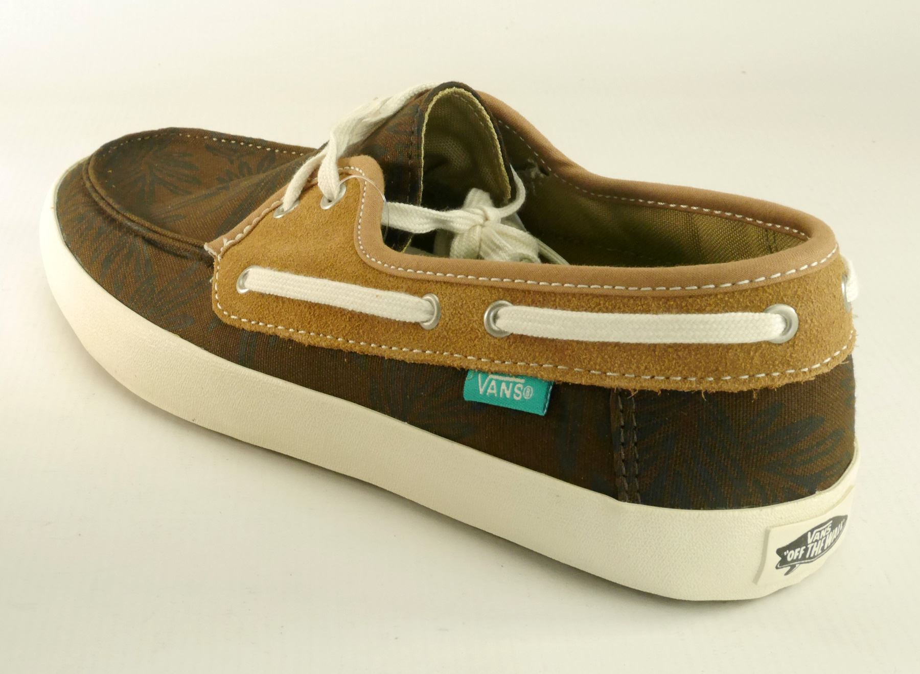 Details about Vans Authentic Chauffeur Mens Lace Up Canvas Suede Brown Pumps Boat Shoes