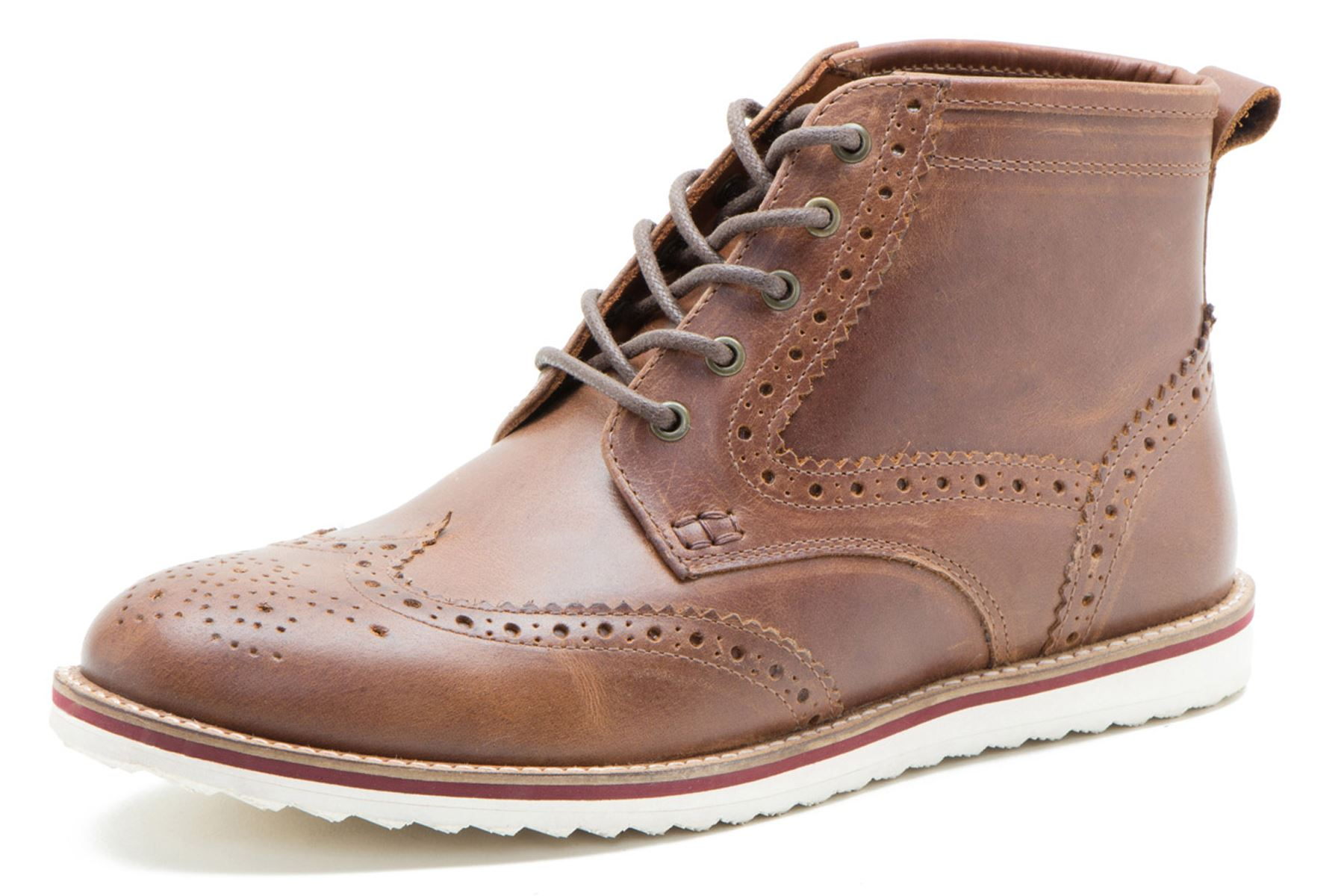 Red Tape Horwood Leather Brogue Lace Up Contrast Sole Mens Boots Tan
