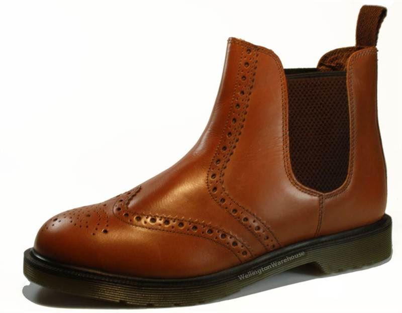 Kleidung & Accessoires Oaktrak Belper Chestnut Brown Pull On Brogue Chelsea Ankle Boots Mens Leather Eine VollstäNdige Palette Von Spezifikationen