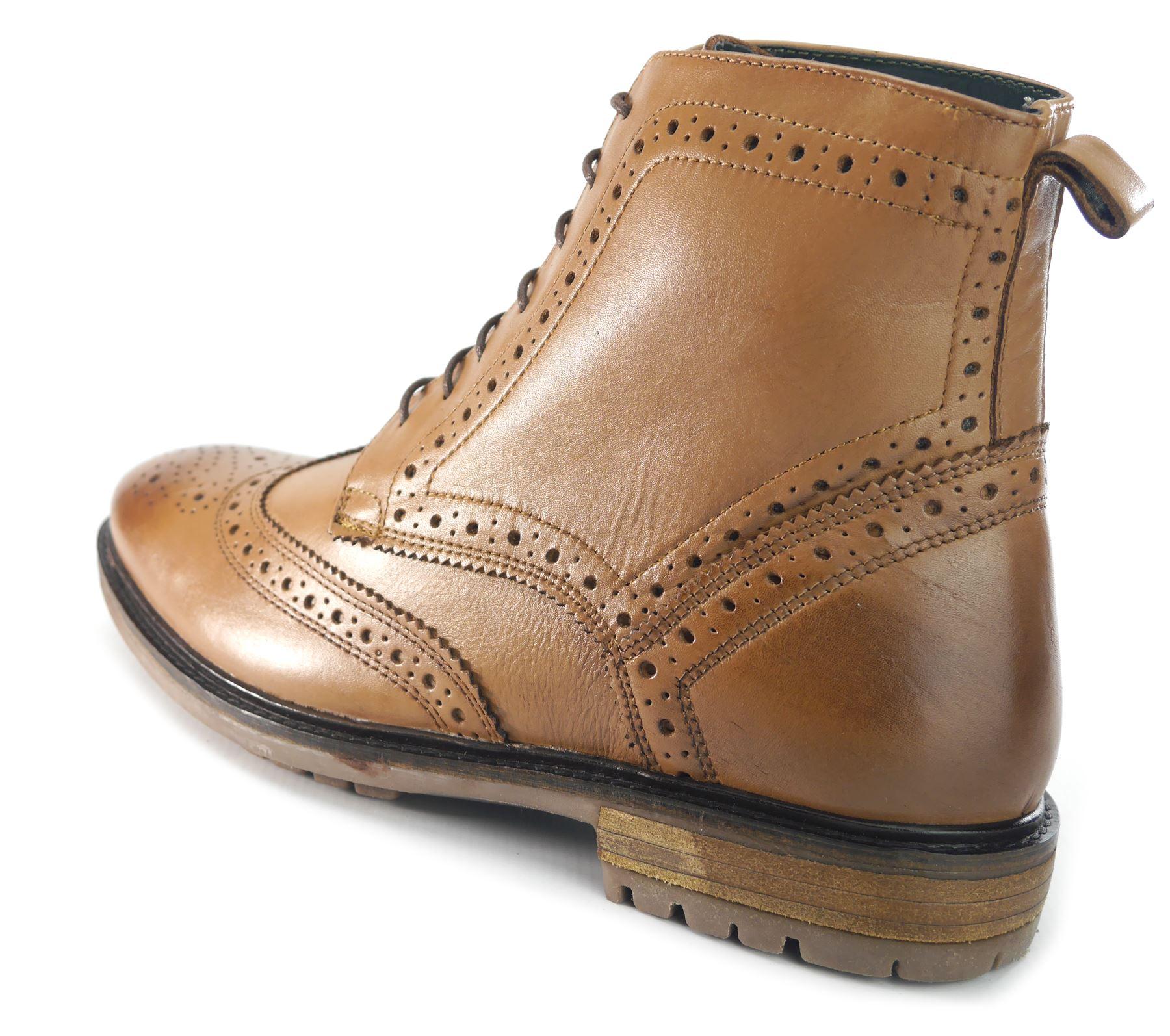 7e89975b73c393 Silver Street Gerrard Tan Leather Formal Mens Brogue Boots RRP £45 Free UK  P&P!