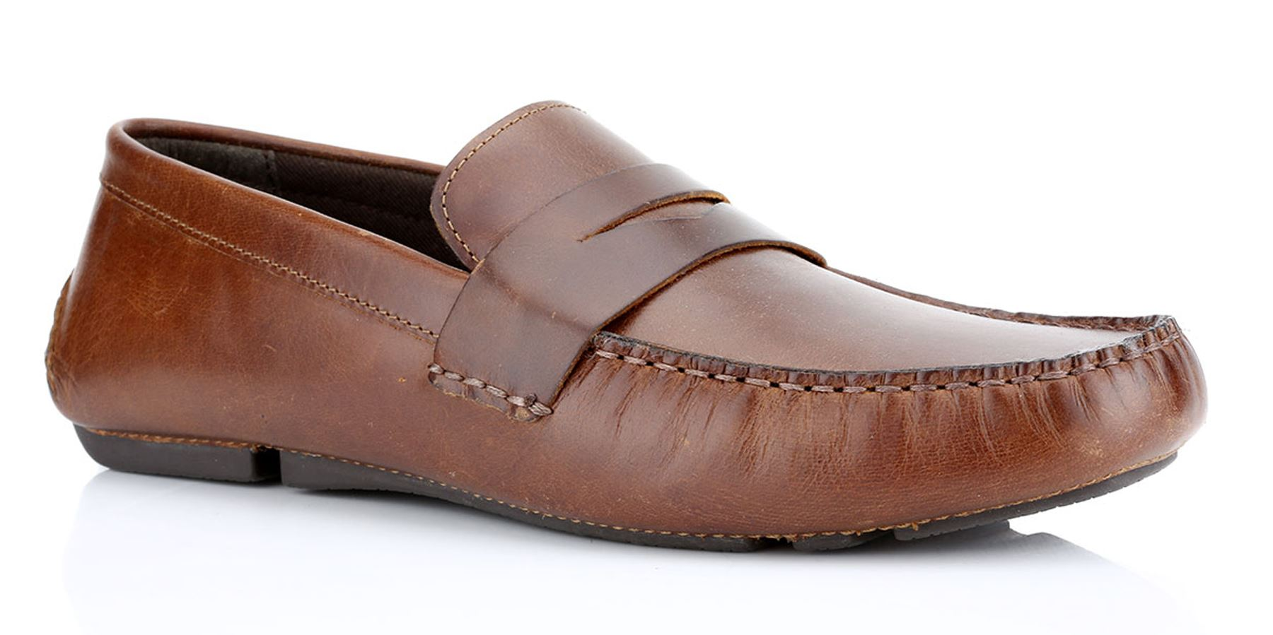 852336d0720 Details about Red Tape Cranfield Leather Mens Casual Driving Shoes Brown