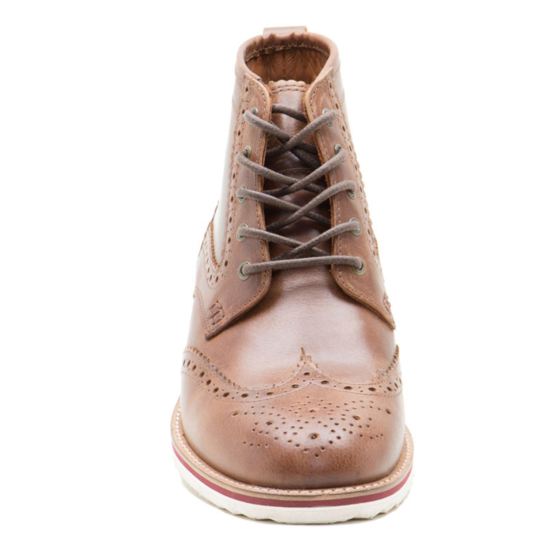 Brogue cordones hombre para cuero botas de suela con Tan Contraste Cinta Horwood roja AYvSIx