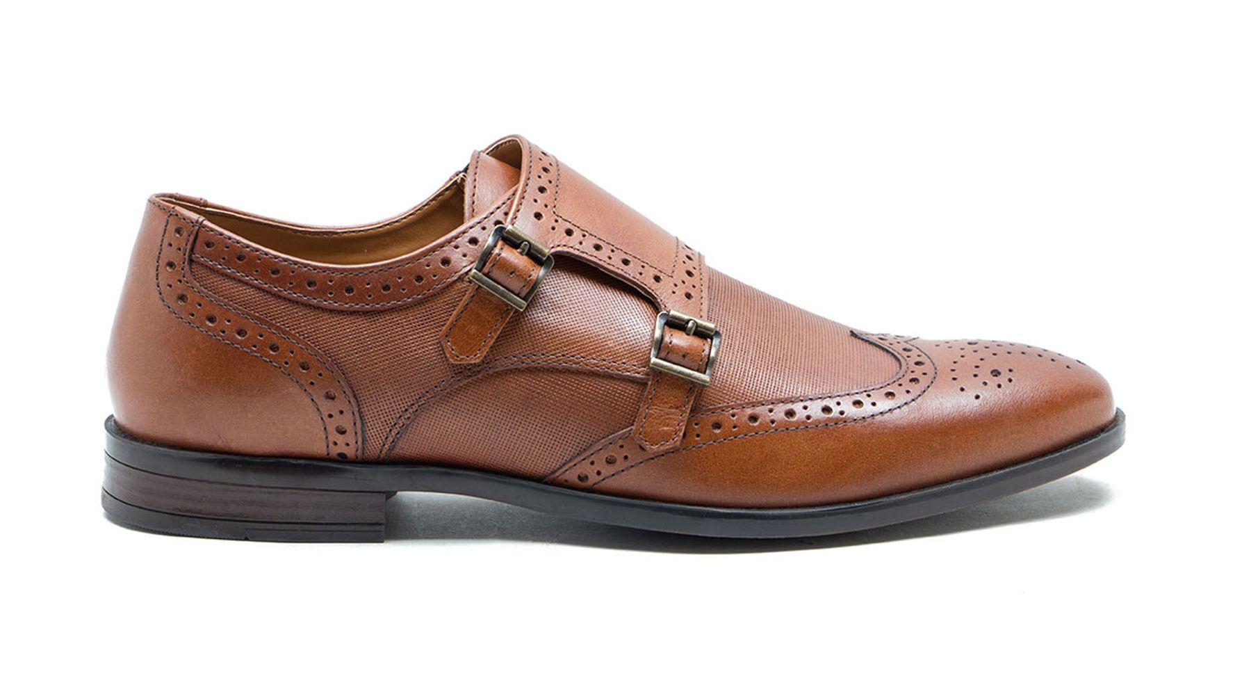 Red Tape Danson Mens twin strap monk shoe leather buckle formal tan black