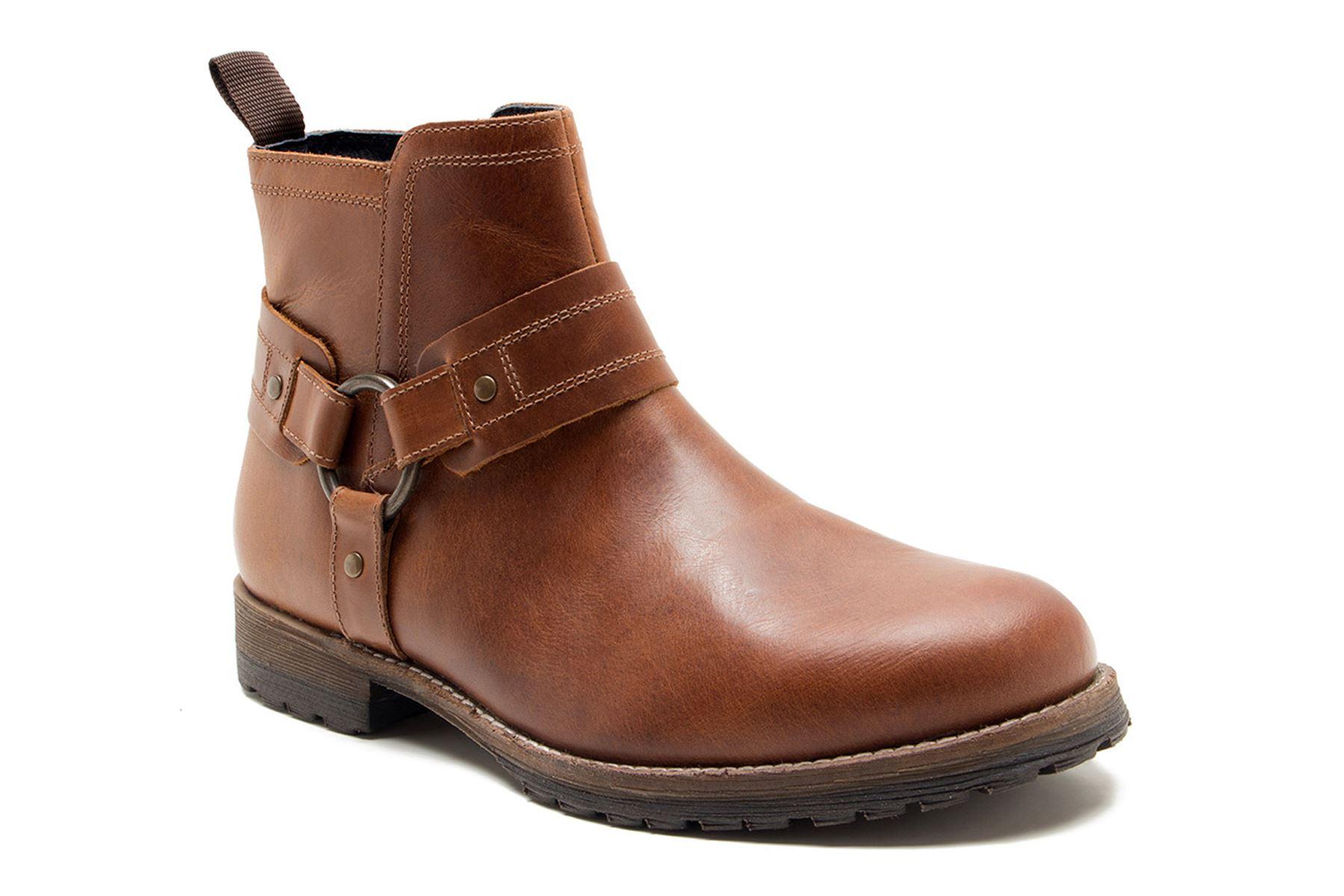f250ab6c4b8d Details about Red Tape Bradley Biker Cowboy Weston Ankle Zip Strap Boots  Tan Brown