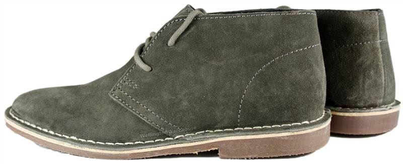 Gobi Homme Desert lacets Grey Suede Ruban Boots Rouge à vSq558HT