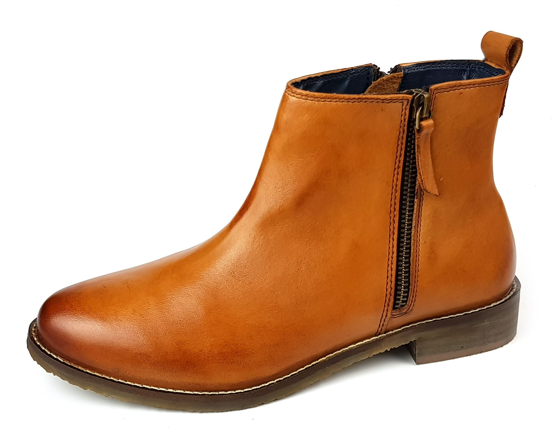 685f2e6ce0605 Details about Womens Ankle Boots Low Mid Leather Tan Brown Chelsea Zip Up  Size 4 5 6 7 8 9