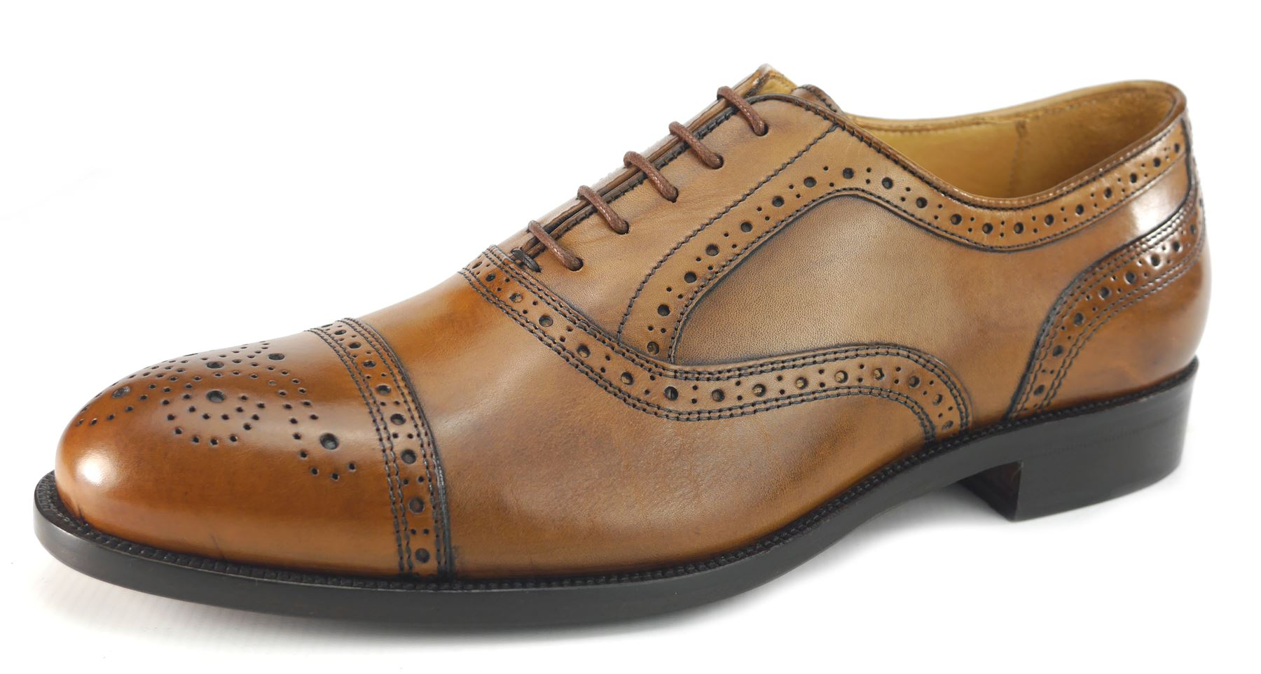 14360d260c3 Details about Mercanti Fiorentini Nairobi 7010 Leather Mens Brogue Lace Up  Cuoio