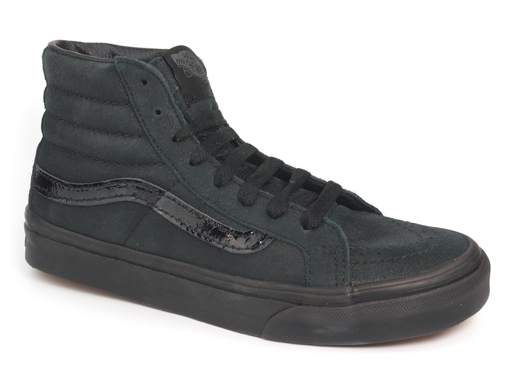 06334b022f These Vans (Patent Crackle) Sk8-Hi Slim in Black Black are a fun twist on  the classic black Sk8-Hi. With the durable and grippy Vans waffle sole