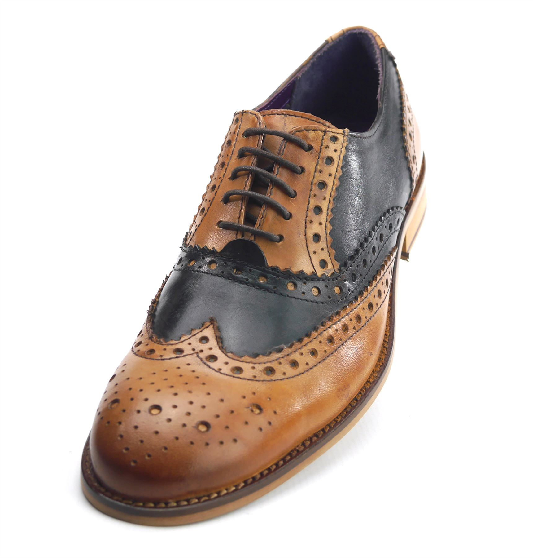 White Frank James Newham Brogues 1920 Lace Up Two Tone Mens Leather Shoes Tan