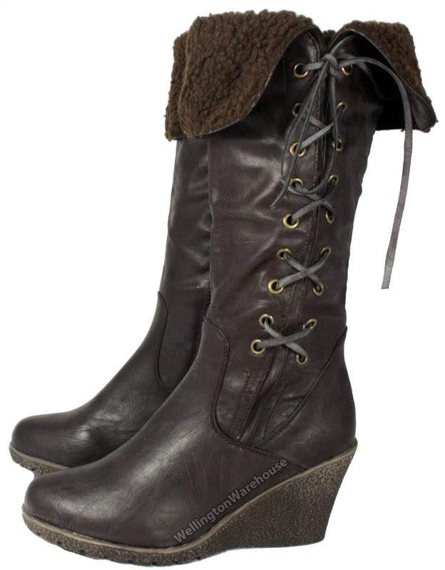 Knee Boots Ward Flb610 Wedge Ladies Zip Manfield Brown High qBtZg