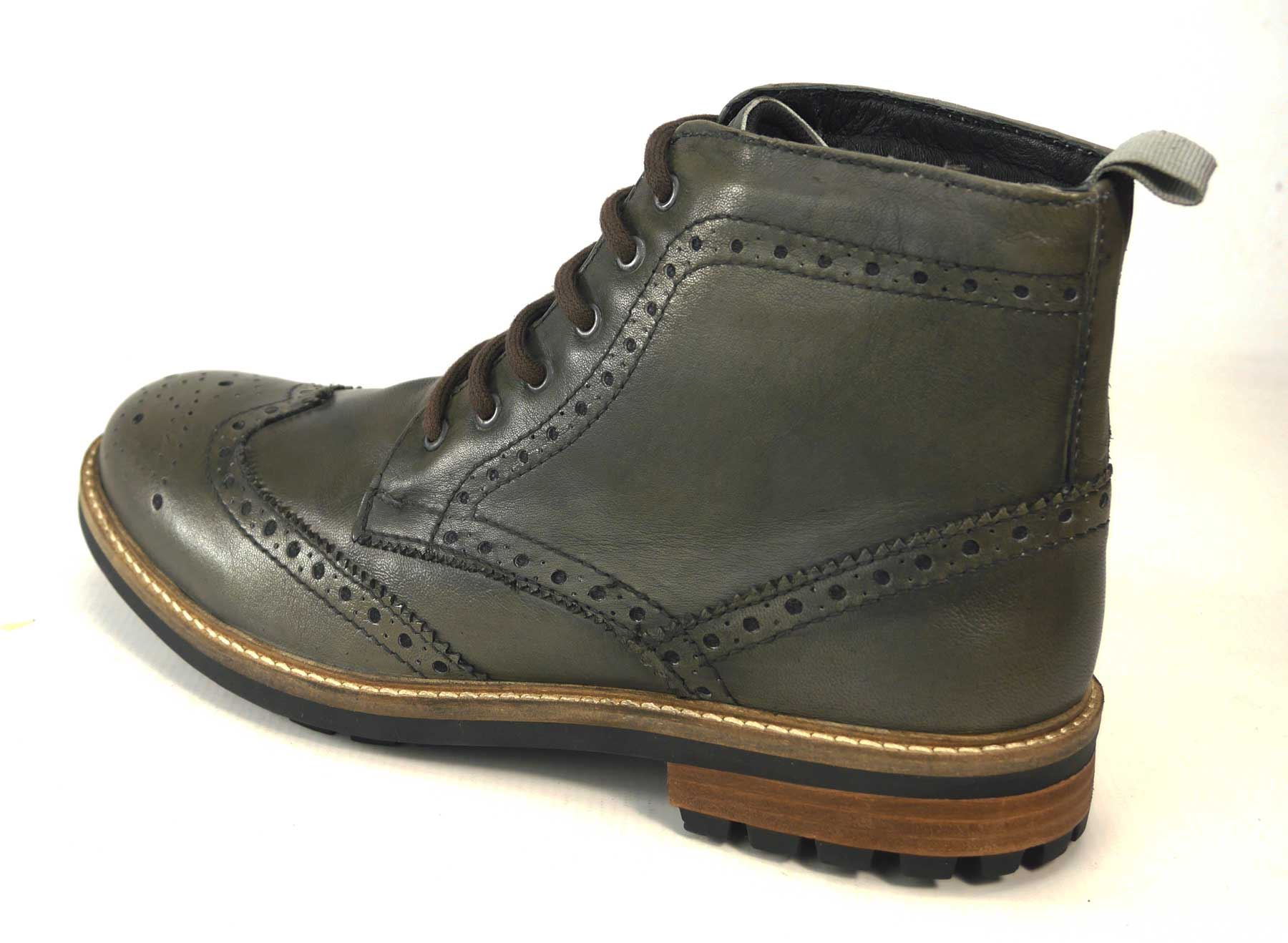 Frank James Hackney Lace Quality Cleated Real Leather Lace Hackney Up Brogue Uomo Boots 8d0665