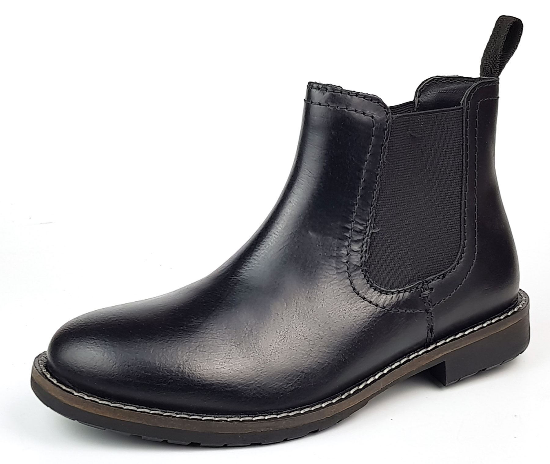 Oaktrak Appleby Boys Black Leather Brogue Pull On Chelsea Boots