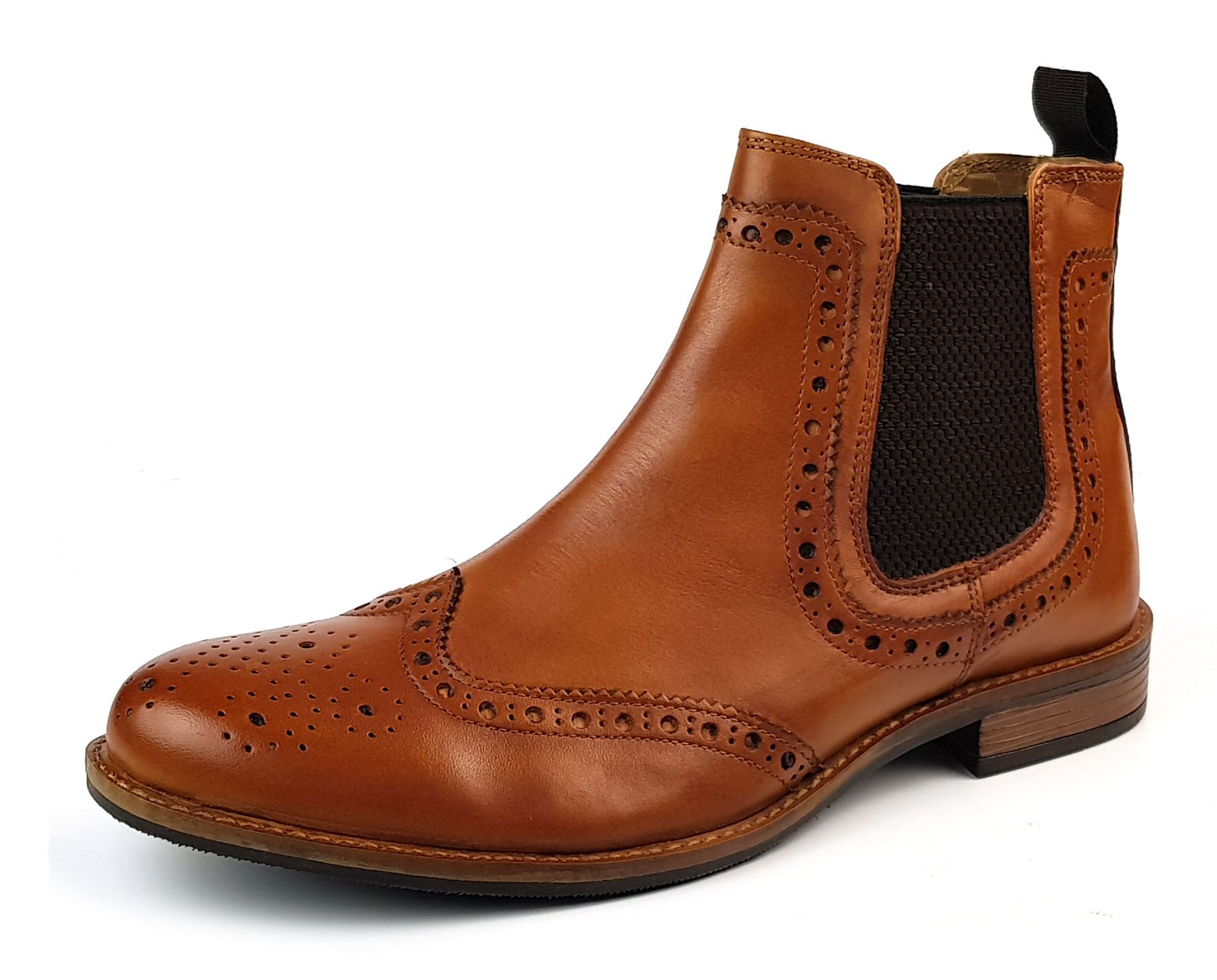 Details about Roamers M143BT Leather Chelsea Pull On Mens Dealer Brogue Boots Tan